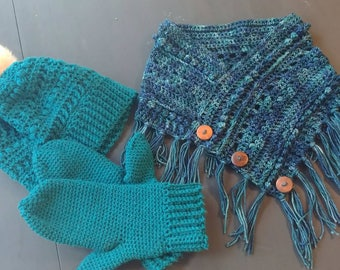 Womens hat and scarf set, hat and scarf set, women's mittens, women's scarf set, handmade hats women