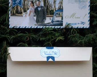 "Thank you wedding in mind ""Vintage Voyage"" card"