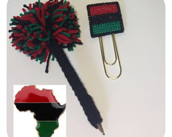Pom Pom Pen and African American Flag Large PaperClip Bookmark