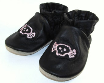 Soft Sole, Handmade, Black Leather, Pink Skulls Baby Shoes, 6 to 12 Month