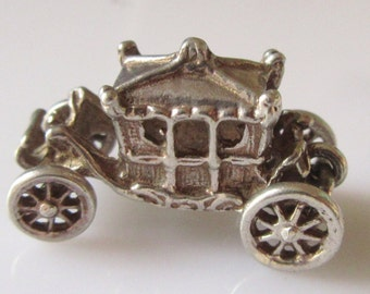 Large Silver Fairytale Coach Moving Charm