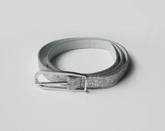 SALE Skinny silver belt, gray snake belt, spring fashion
