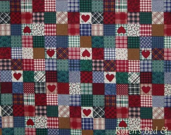 Old Timey EARLY AMERICAN PATCHWORK Fabric By the Yard / Half Yard Heart Home Patch Blocks 100% Cotton Quilting Apparel Fabric w6/32