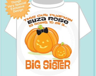 Big Sister Outfit shirt for Halloween Theme Pregnancy Announcement. Cute Pumpkin Kids Big Sister Shirt with name (09292016b)