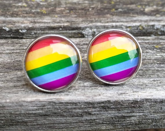 Gay Pride Cufflinks. Anniversary, Wedding, Groomsmen Gift, Groom, Valentine's Day