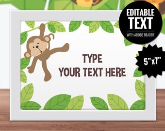 Safari Place Cards - Editable Table Signs - Buffet Cards - Printable Food Cards - Jungle Monkey Baby Shower/Kids Birthday Party Table Decor