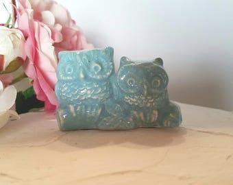 Owl Wedding Cake Topper Light Aqua Small Love Owls Hugging Ceramic In Stock Ready to Ship Wedding Cake Topper Aqua
