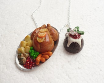 Christmas Dinner Necklace.  Polymer Clay.