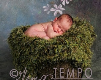 Green Moss Baby Blanket Newborn Photo Prop Blanket Looks Like Moss Photography Prop or Grass Blanket