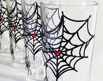 Spider Water Glasses Hand Painted Glasses Water Glasses Colorful Glasses Spider Drinking Glasses Set of4 Halloween glasses