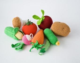 Kitchen Play Set - Crochet Vegetables - Play Food, Pretend Play, Veggies Play Set, Baby Shower Gift - FrejaToys