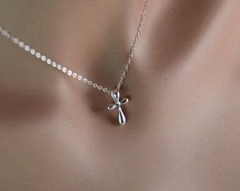 All Sterling Silver Dainty Cross Necklace, Minimalist Cross Jewelry,