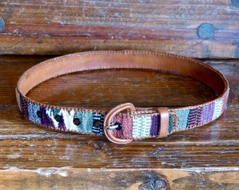 Leather & Southwestern Weave Belt w/ Hand-laced Leather Edges