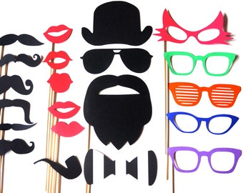 Hilarious Photo Booth Props - 21 piece prop set - Birthdays, Weddings, Parties - Photobooth Props