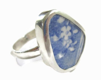 Broken China Jewelry, Floral,  Sterling Silver, Blue Flower Ring, Chaney Statement Ring,   Any Size,   Repurposed, Broken Plate Jewelry