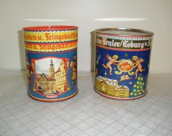 Vintage German Fyler Lebkuchen Cookie Biscuit Tins - Set of 2