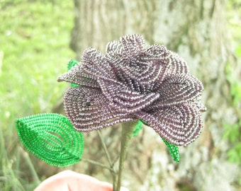 Ebb Tide variety French beaded rose sculpture