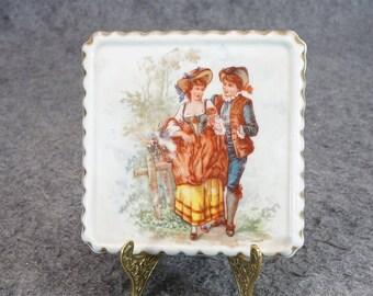 Vintage Porcelain Square Display Plate C. 1890'S