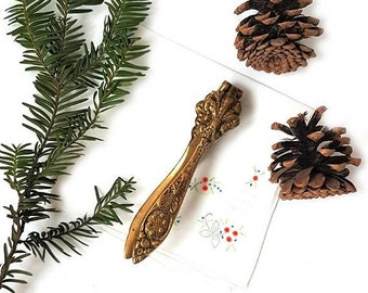 SALE Antique Solid Brass Nutcracker , Italian Brass Nutcracker Flor de Lis decor  Nutcracker  Florentin Medieval Style Walnut Cracker