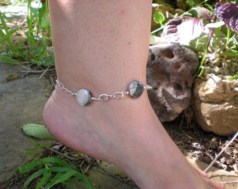 Barefoot in Love anklet, rhodonite, sterling silver, flower charm, OOAK