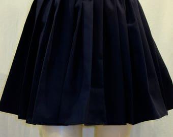 "Navy Blue Elastic Waistband  pleated Skirt~Navy Uniform Skirt~Small to Plus  14"" to 16""Long Navy Pleated  Skirt~Custom make Skirt@sohoskirts"