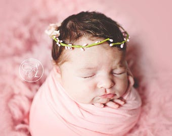Pink Adjustable Newborn Floral Crown