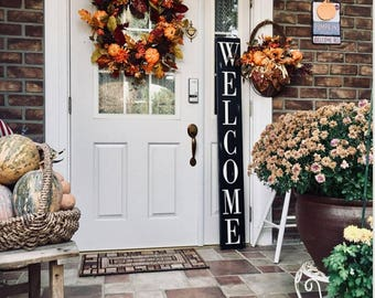 Welcome sign, Welcome sign for front porch, Vertical Welcome sign, Welcome sign wood, vertical porch sign, entryway sign, farmhouse sign