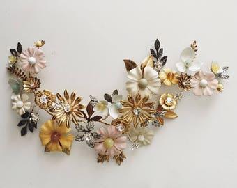 Vigne de cheveux de fleurs sauvages, #1500, en céramique et laiton