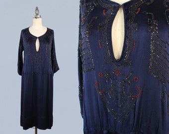1920s Dress / 20s EGYPTIAN REVIVAL Beaded Embroidered Dress!