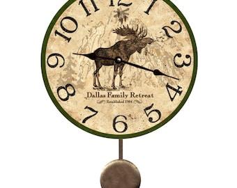 Moose Pendulum Clock- Personalized Moose Wall Clock