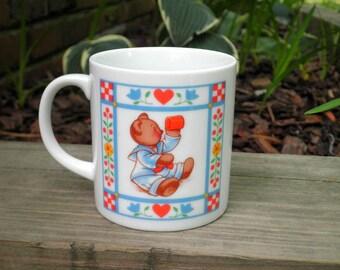 Vintage Teddy Bear Coffee Cup / Mug - Retro 80s Collectible Butterfield Bear Ceramic Bears Mug - Boy & Girl Baby Bear Animal Lover Gift