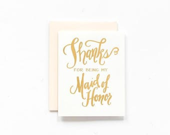 SALE! - Thanks for Being My Maid of Honor Greeting Card