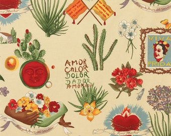 Alexander Henry Viva Frida - Mexican Folklorico Frida Kahlo Tattoo style Fabric - Parchment - Per 1/2 metre - 100% Cotton