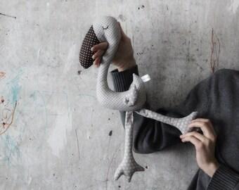 "Stuffed bird flamingo toy primitive safe stuffed bird 18""/45 cm baby shower gift nursery decor"
