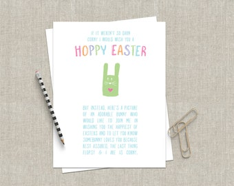 Funny Easter Card Funny Greeting Card Happy Hoppy Easter - Funny Card Bunny Card - Easter Bunny Card Sarcastic Love Card Pink Pastel Spring