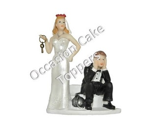 Wedding Cake Topper - Bride and Groom - Ball and Chain Humorous - Polyresin Decoration