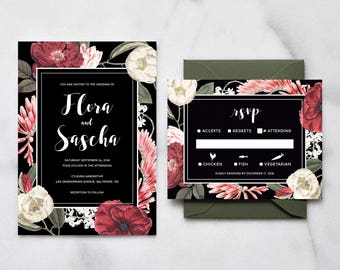 Printable Floral Wedding Invitation Set - Dark Moody Floral Wedding Invitations, Garden Wedding, Boho Wedding, Bohemian, Vintage Wedding