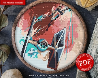 Star Wars Cross Stitch Pattern for Instant Download *P384 | Dogfight Cross Stitch Pattern| Easy Cross Stitch| Counted Cross Stitch