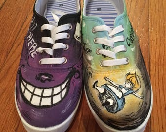 Alice's Adventures in Wonderland Hand Painted Custom Sneaker Shoes