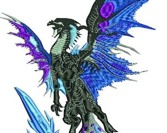 Dragon in flight machine embroidery design