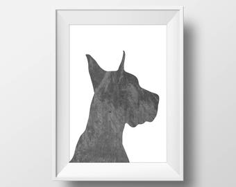 Chalkboard Great Dane Print, Great Dane Print, Great Dane art, Dog decor, Dog lover gift, Great Dane Wall Art