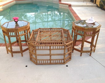 """BAMBOO COFFEE TABLE / Bohemian Bamboo Table 43 3/4"""" x 43 3/4"""" x 18"""" /Octagon Bamboo Table with Glass at Palm Beach Chic at Retro Daisy Girl"""