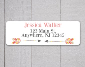 Arrow Address Labels, Return Address Labels, Arrow Address Label, Return Address Sticker, Red Pink and Mustard Address Stickers  (#322-3)
