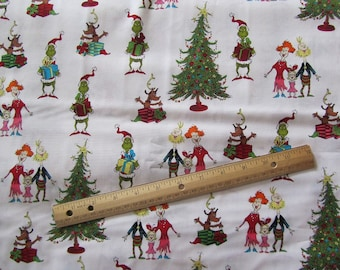 White Dr Seuss Christmas Grinch Whoville Cotton Fabric by the Half Yard