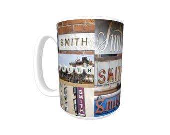 Personalized Coffee Mug featuring the name SMITH in photos of actual signs