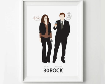 30Rock Poster Liz Lemon Jack Donaghy - Movie Poster, Minimalist Wall Poster, Quote Print, Digital Art Print