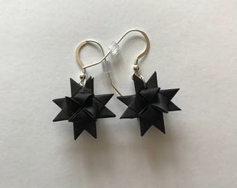 Moravian Star Earrings—Black