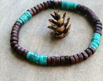 Turquoise bracelet mens stretch bracelet layering bracelet beaded bracelet southwest bracelet for men guys jewelry mens jewellery surfer