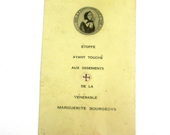 Antique Holy Card Relic of Saint Marguerite Bourgeoys, Vintage French Saint Marguerite Bourgeoys Relic Card