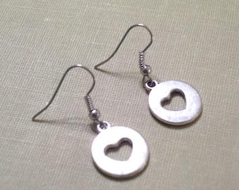 Antiqued Silver Cutout Heart Earrings